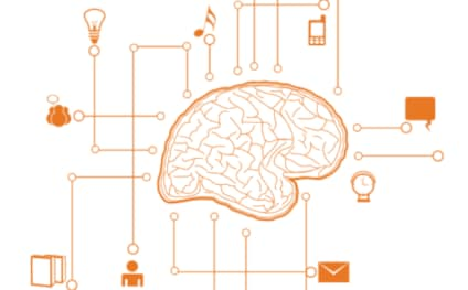 Drawing of brain with thought items