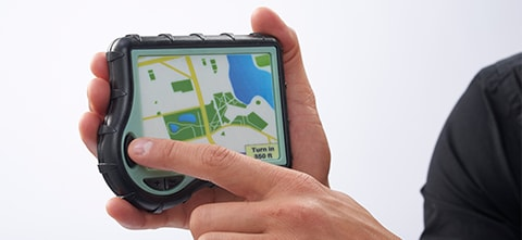 a 3D printed prototype of a handheld digital map, created by a PolyJet printer