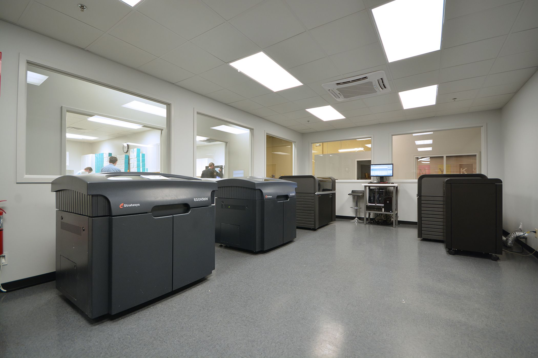 The DynaFlex dedicated 3D Printing Center, with space for two additional J700s.