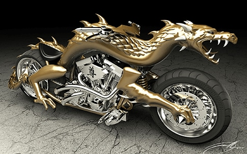 Rendering of dragon chopper as presented to client