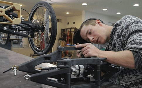 The ability to use Stratasys FDM Nylon 12CF in all stages of the manufacturing process is a game-changer for Utah Trikes.