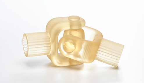 Translucent joint model 3D printed in RGD720.